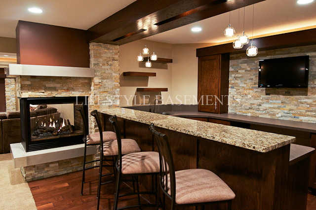 Wet Bar contemporary basement