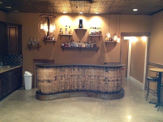 Whiskey and wine bar room eclectic-basement