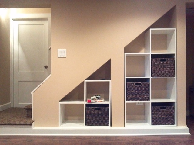Basement Stairs Storage wilmette basement rec room - traditional - basement - chicago -