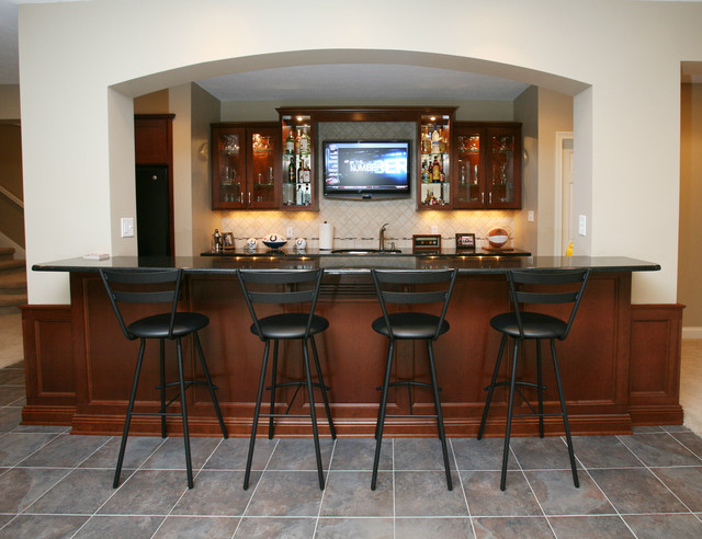 Windpointe Pass Bar Remodel Contemporary Basement