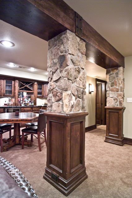 Wood Beam Stone Columns Traditional Basement Other