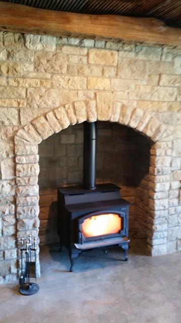 wood stove traditional basement