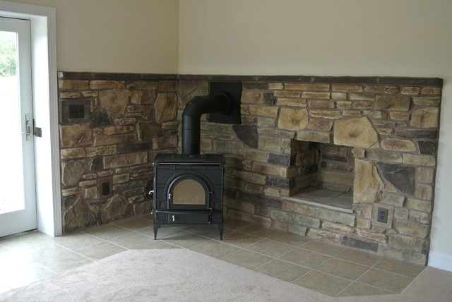 Wood Stove in basement traditional-basement - Wood Stove In Basement - Traditional - Basement - DC Metro - By