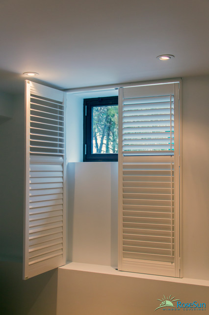 Wooden shutters modern basement toronto by rosesun Window treatment ideas to make