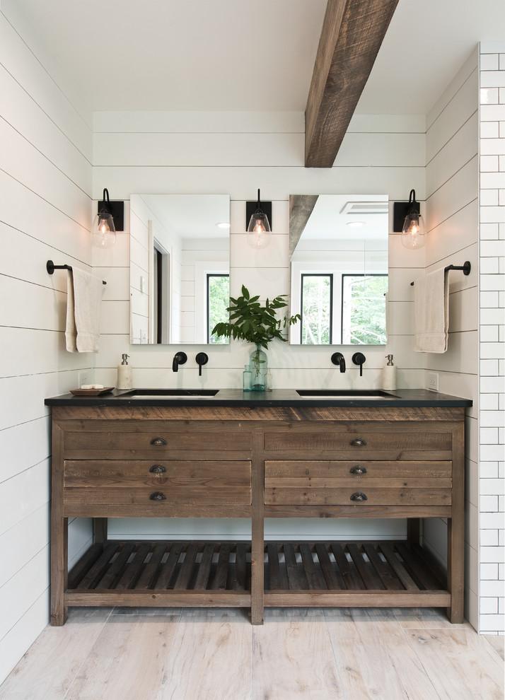 1 bathroom becomes 2  farmhouse  bathroom  new york