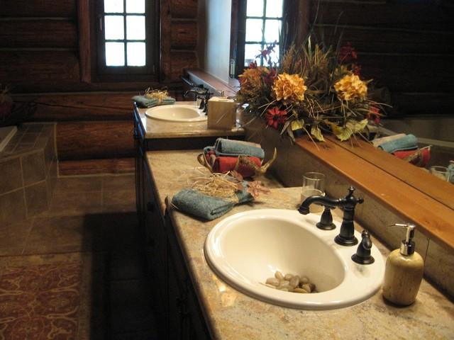 10k sq ft log cabin rustic bathroom other metro for Bathroom remodel 10k