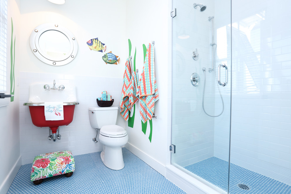 Alcove shower - coastal kids' white tile and subway tile blue floor alcove shower idea in Philadelphia with a two-piece toilet, white walls, a wall-mount sink and a hinged shower door