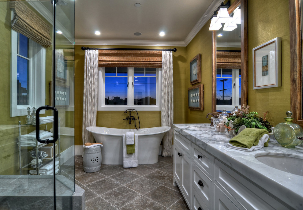 Inspiration for a timeless freestanding bathtub remodel in Orange County