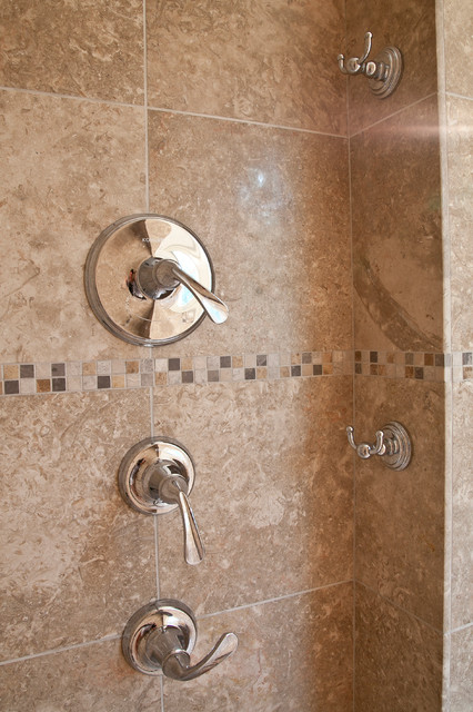 12 x 12 and mosaic tile in the master bathroom shower for Rustic tile bathroom ideas