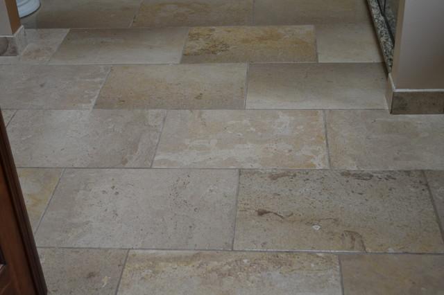 12 X 24 Tumbled Travertine Floor Traditional Bathroom