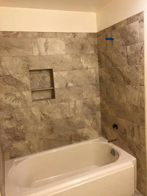 12x24 porcelain tub shower enclosure traditional for Porcelain tubs vs acrylic
