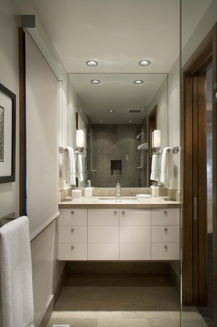 1305 ranch contemporary bathroom other by rowland for Modern ranch bathroom