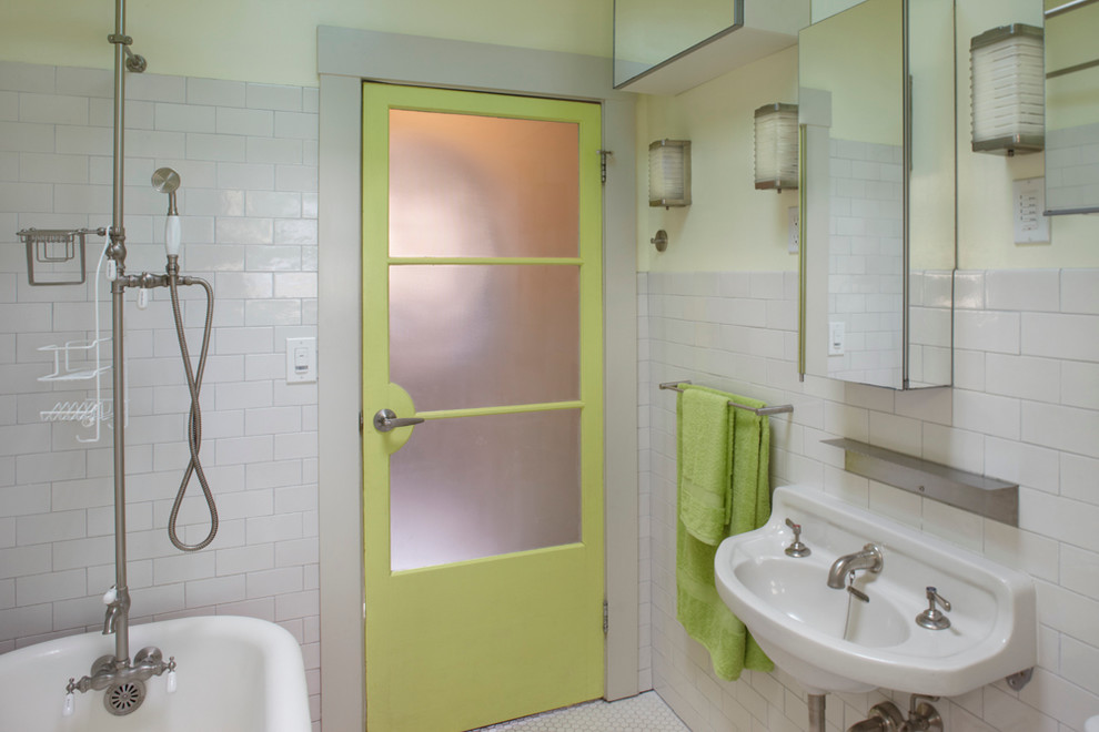 Example of a classic white tile and subway tile bathroom design in San Francisco with a wall-mount sink