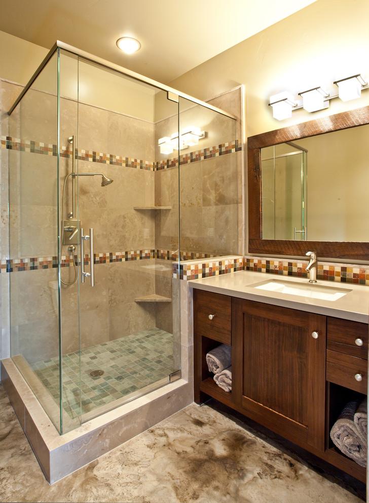 Inspiration for a rustic mosaic tile bathroom remodel in Salt Lake City
