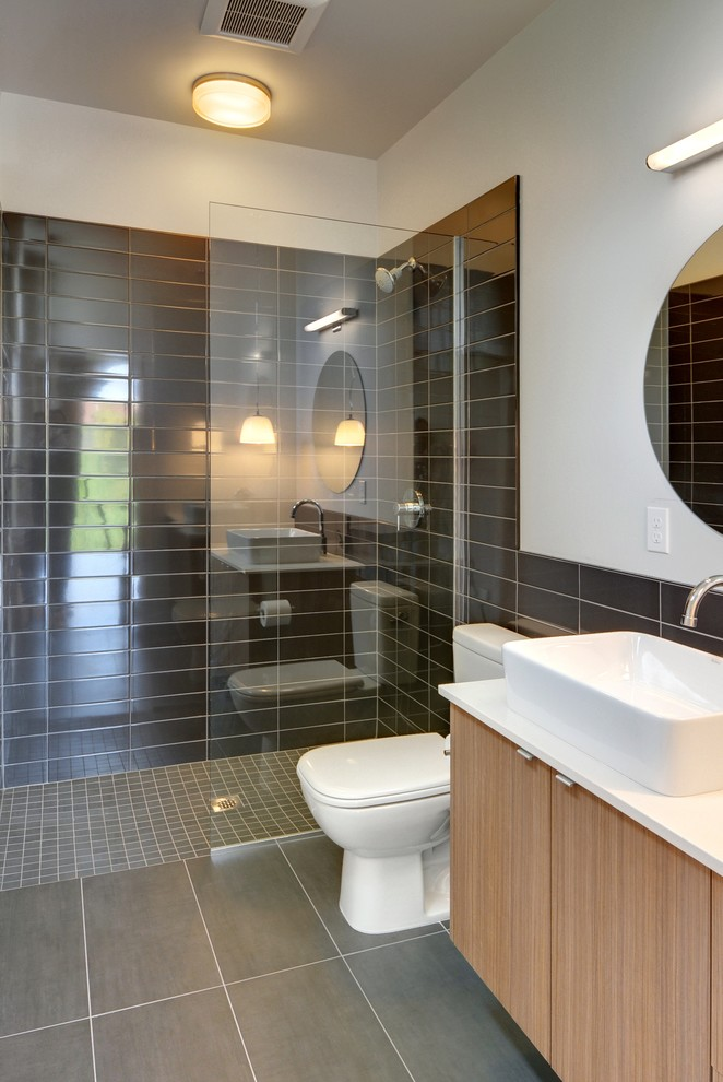 Example of a trendy bathroom design in Seattle with a vessel sink