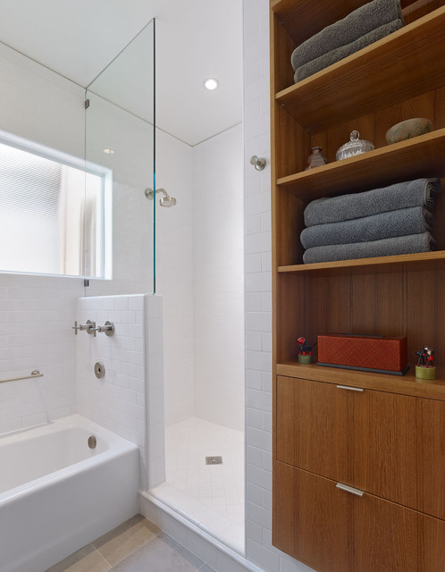 small bathroom custom linen cabinet shower and tub bathroom san