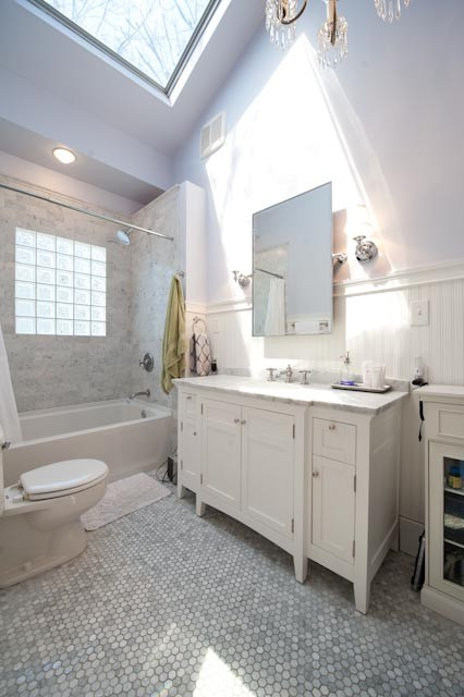 1920s white marble bathroom makeover traditional for Bathroom ideas 1920s home