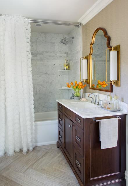 1929 tudor gets bright colorful traditional bathroom for Tudor bathroom design