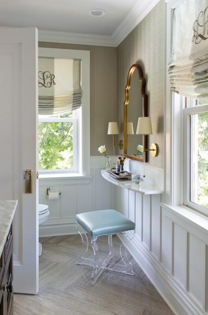 1929 tudor gets bright colorful transitional for Tudor bathroom design