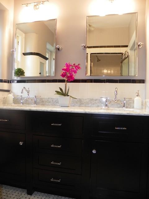 1930's black and white bath traditional-bathroom