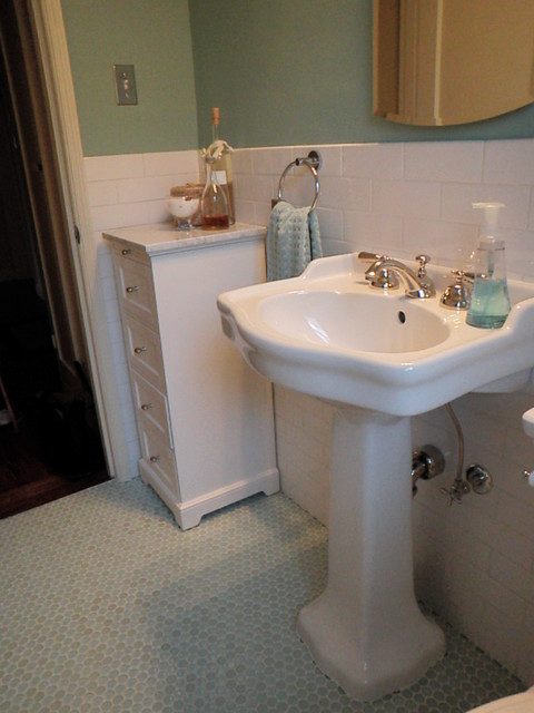 48'48 Bath Room Up Date With Glass Penny Round Floor And White Enchanting 1940 Bathroom Design