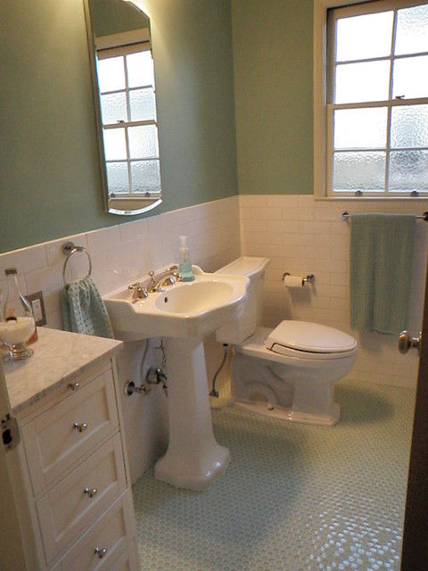 1940 39 3 bath room up date with glass penny round floor and for 1940s bathroom decor