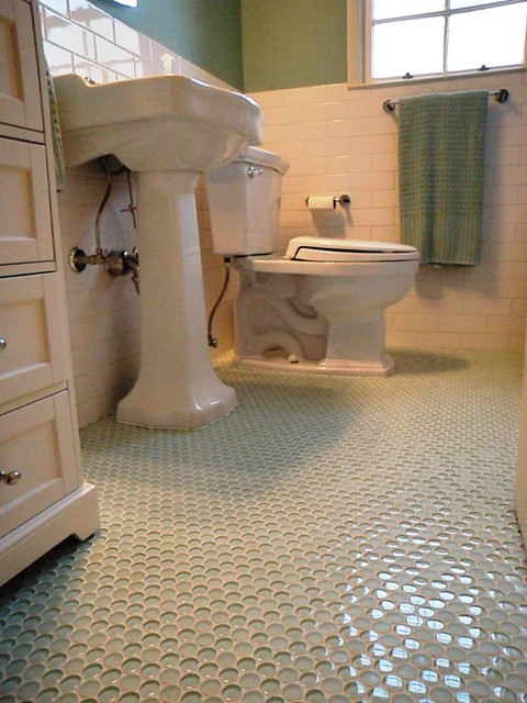 1940 3 Bath Room Up Date With Gl Penny Round Floor And White Subway Wall