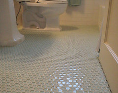 1940'3 bath room up date with glass penny round floor and white subway wall tile traditional-bathroom