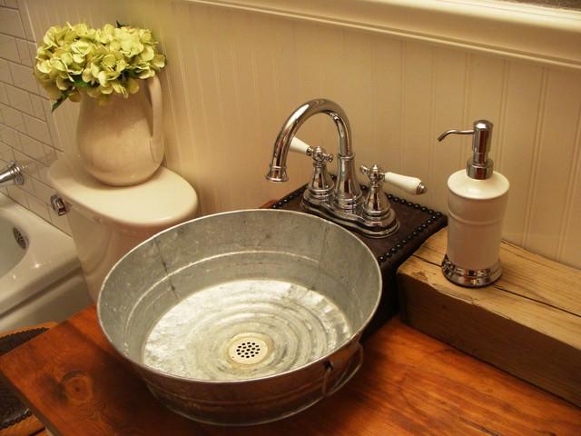 1930 39 s bungalow bathroom farmhouse western style for Metal bucket sink