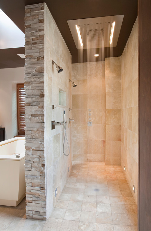 The distance between the over head shower and users ,