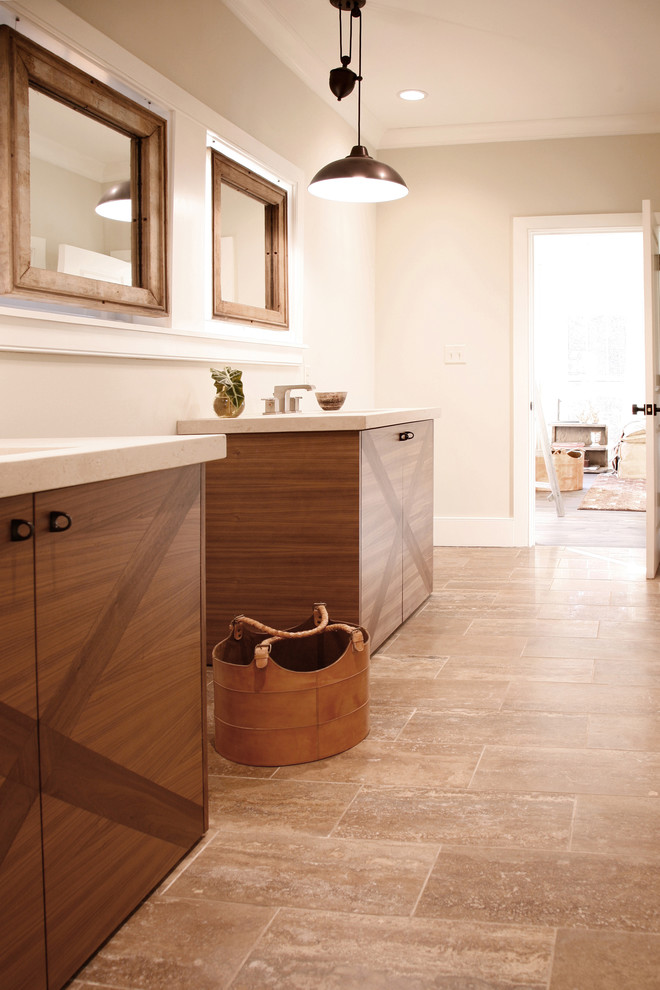 Example of a minimalist beige tile bathroom design in Atlanta with flat-panel cabinets and medium tone wood cabinets