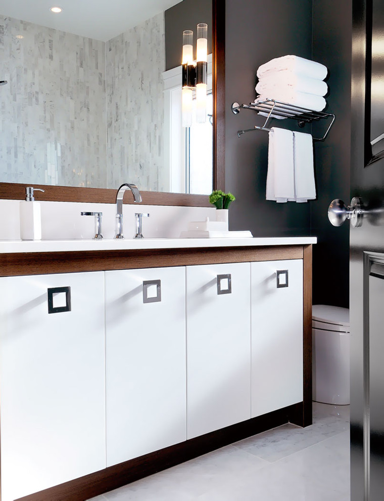 Bathroom - contemporary white tile bathroom idea in Other with flat-panel cabinets and white cabinets