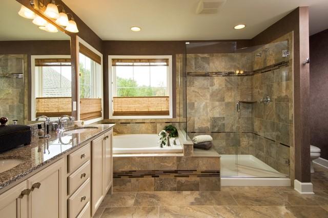 bathroom traditional brown floor bathroom idea in boston with granite countertops - Bathroom Ideas Brown Cream