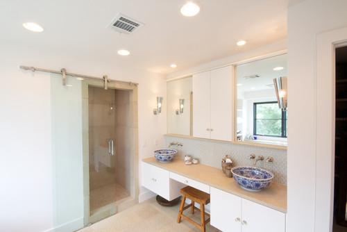 Love the shower barn door for Glass barn door for bathroom