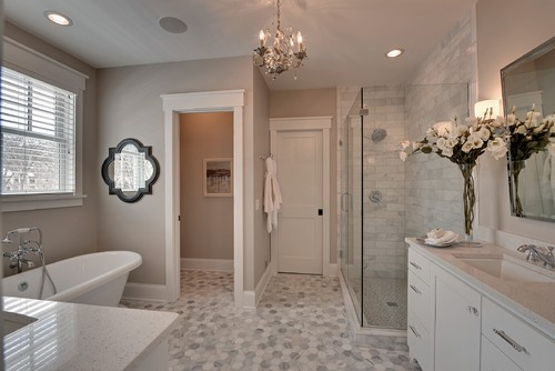 Color spotlight benjamin moore revere pewter for Traditional bathroom