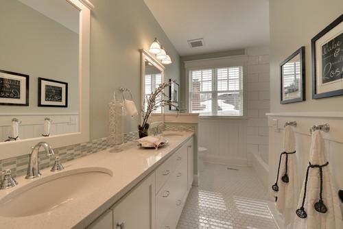 Love the backsplash tile behind sinks