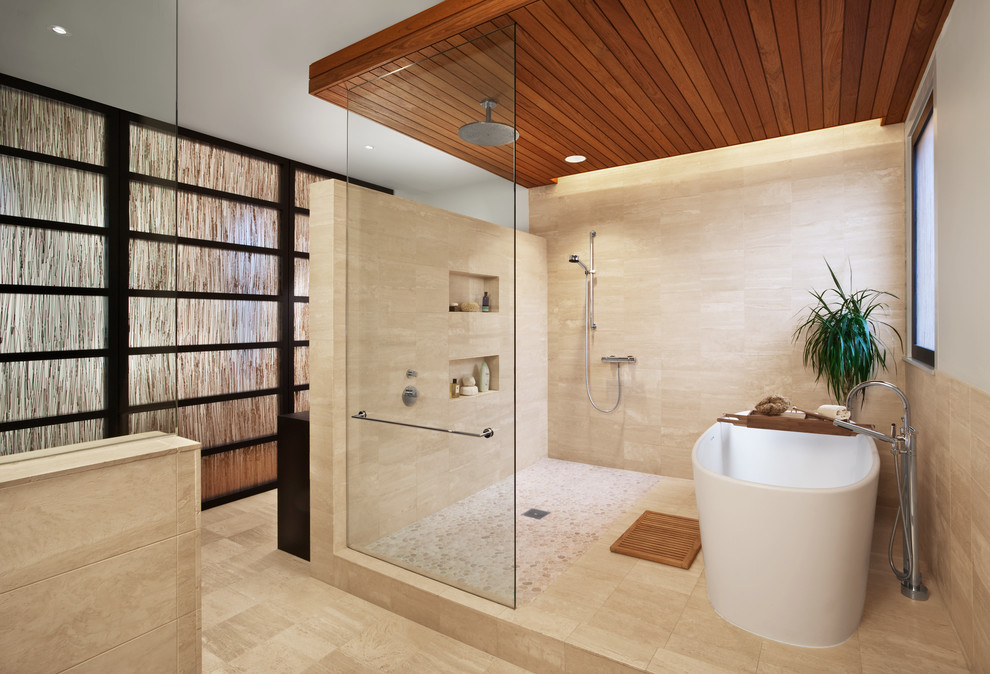 Inspiration for a large contemporary master stone tile travertine floor and beige floor bathroom remodel in Chicago with beige walls