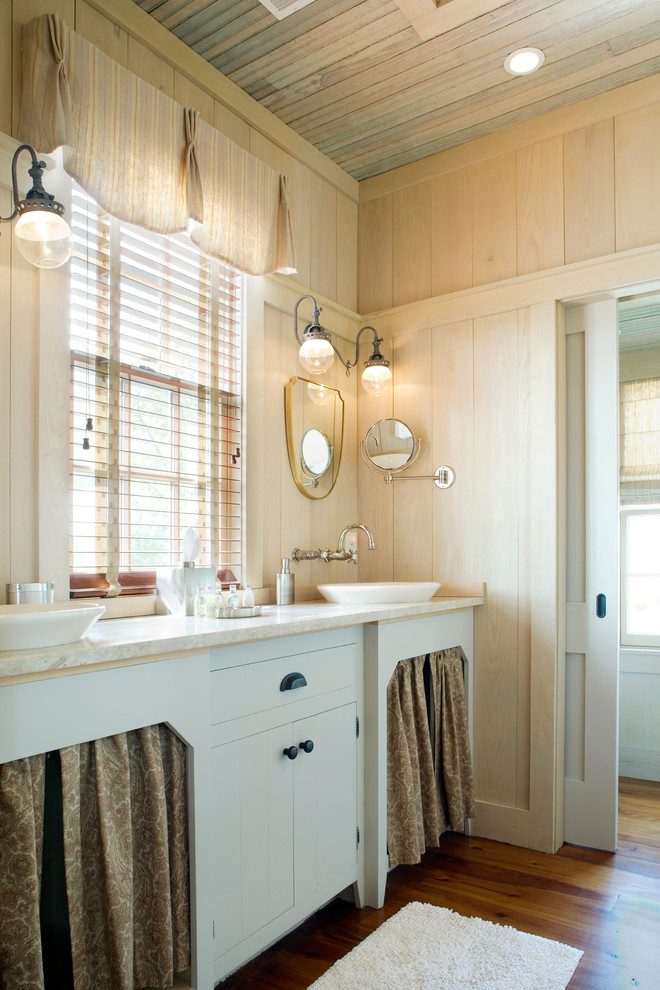 Inspiration for a shabby-chic style bathroom remodel in Atlanta with a vessel sink