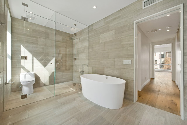 ... transition from tile flooring to hardwood. Contemporary Bathroom by The  Turett Collaborative - Transition Time: How To Connect Tile And Hardwood Floors