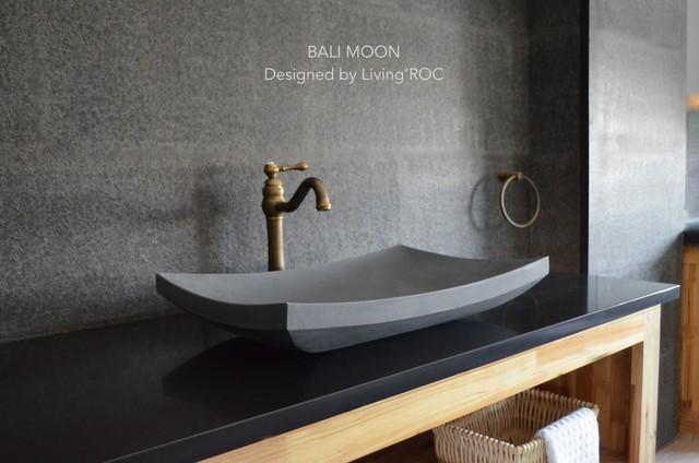 23u0027u0027 Gray Andesite Basalt Concrete Look Stone Vessel Sink   BALI MOON Modern