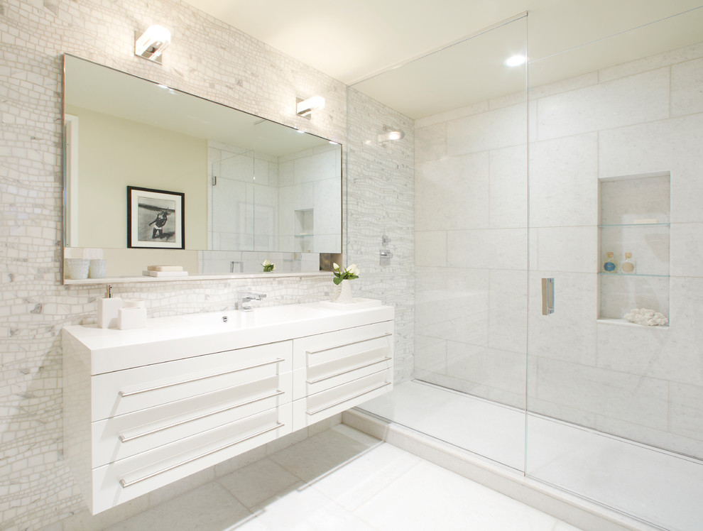 Alcove shower - modern white tile alcove shower idea in New York with flat-panel cabinets and white cabinets