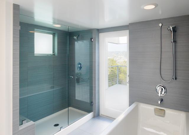gray tile alcove shower idea in los angeles