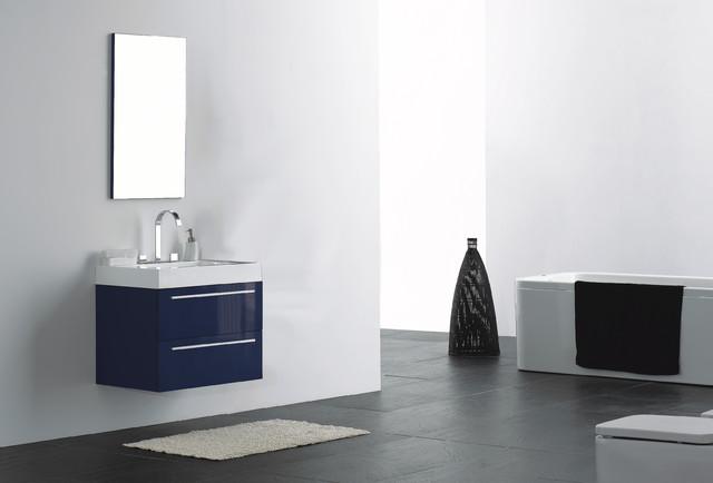 27 wall mounted modern bathroom vanity in high gloss midnight blue modern bathroom for Midnight blue bathroom vanity