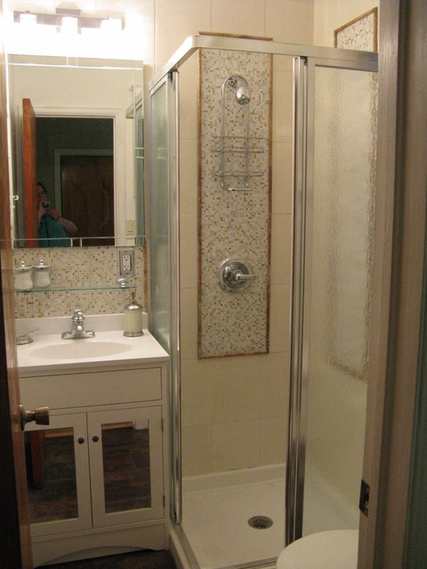 3 4 bath created from powder room contemporary for 5 x 4 bathroom designs