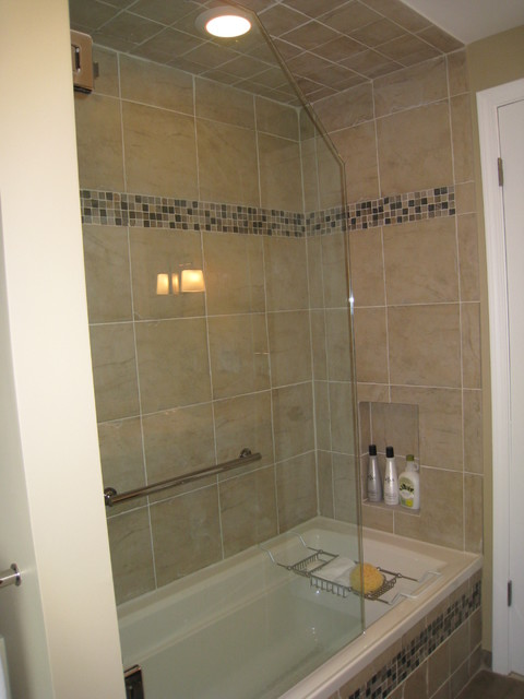 3 4 Frameless Tub Shower Door With Dark Cabinets Transitional Bathroom