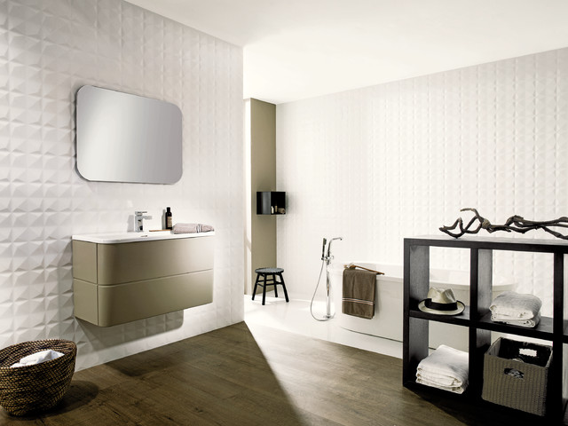 3 Dimensional Feature Tiles Diamond White Contemporary Bathroom