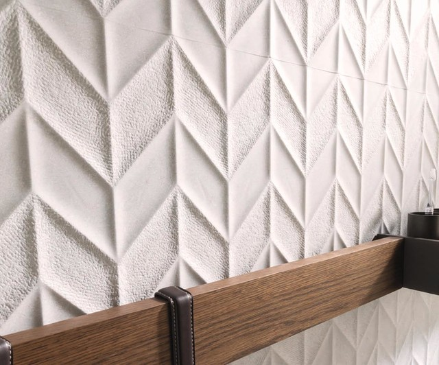 3 Dimensional Feature Tiles Dover Spiga Caliza Contemporary Bathroom