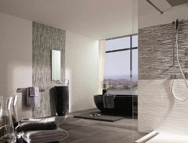 Modern Bathroom Feature Tiles : Dimensional feature tiles jersey mix nieve