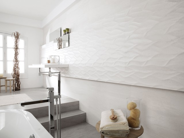 3 Dimensional Feature Tiles Ona Blanco Contemporary Bathroom