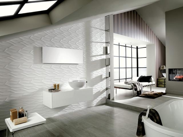 3 Dimensional Feature Tiles Ona Matt White Contemporary Bathroom